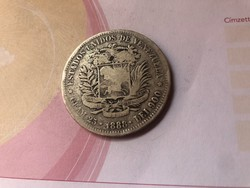 1888 Venezuela ezüst 5 bolivar 25 gramm 0,900 Ritka!!!