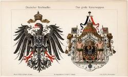 Birodalmi és császári címer, színes nyomat 1906, német nyelvű, eredeti, litográfia, régi