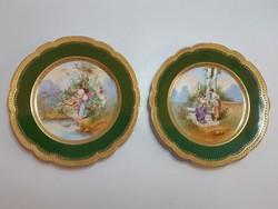 Páros Venezia porcelán jelzésű jelenetes tányér domború mintájú arany széllel