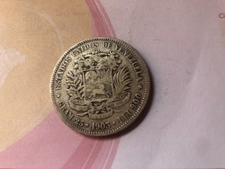 1903 Venezuela ezüst 5 bolivar 25 gramm 0,900 Nagyon Ritka!!!!(szép db