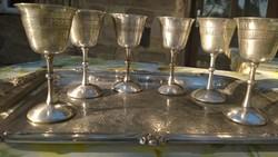 Antik Ezüstözött talpas kehely-pohár szép ötvösmunkával