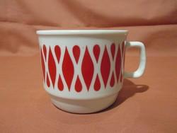 Piros mintás Zsolnay bögre, csésze
