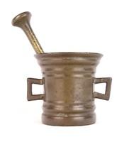 0U184 Antik bronz mozsár patika mozsár 3.1 kg