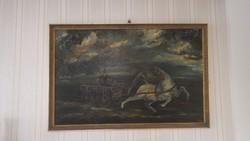 T.M. jelzéssel olaj festmény , táltos ló szekérrel