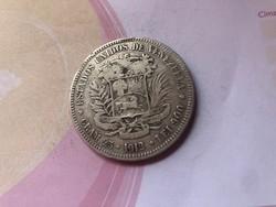 1912 Venezuela ezüst 5 bolivar 25 gramm 0,900,ritkább szép darab