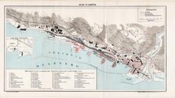 Fiume és kikötője (1), térkép, 1894, eredeti, magyar nyelvű, lexikon melléklet, tenger, kikötő, hajó