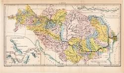 A Duna (2), térkép, 1894, eredeti, magyar nyelvű, lexikon melléklet, folyószabályozás, Magyarország