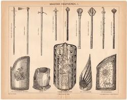 Magyar fegyverek I., 1896, egyszín nyomat, eredeti, magyar nyelvű, pajzs, buzogány, mellvért, régi