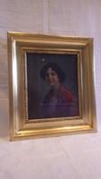 Ott Zoltán olaj-fa női portré festmény