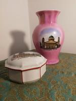 Zsolnay váza és dobozka, porcelán emléktárgyak