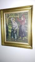 Heller József - antik olajfestmény, 1 Ft.!!! Üvegezett keretben, jelzett, nincs minimálár!!!