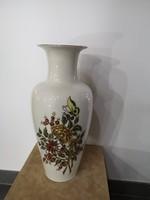 Gyönyörű, dúsan festett, hibátlan, pillangós-virágos Zsolnay nagy méretű váza