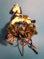Kézzel festett fa lovacska karácsonyfa dísz asztal dísz 13 cm x 10 cm
