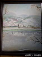   Barta Mária ( 1897 - 1989 ): Vízpart télen - art deco