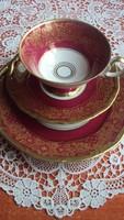 Elegáns,finom kivitelű WEIMAR-i porcelán, bordó arany díszítésű, 3 részes reggeliző szett.(jelzett)