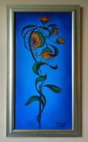 David Beeri (1951- ) - Napraforgó (2005.) olaj, vászon; 100 x 50cm