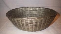 Nagyobb antik fonott fém tál , kosár