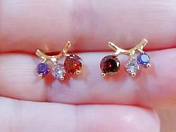 Töltött arany (GF) fülbevaló, színes CZ kristályokkal