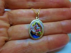 Szépséges antik 18kt-os Mária medál láncon kézifestés
