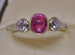 Szép antik rubin és 0.26ct gyémánt 14kt arany gyűrű