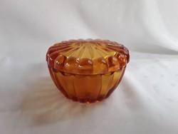 Borostyán színű üveg bonbonier   / 2089