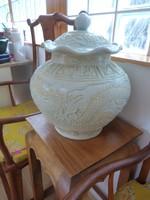 Hatalmas sárkányos, kínai, szeladon mázas kerámia, porcelán. keleti