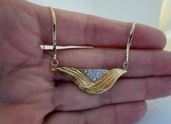 Gyönyörű art deco18kt  0.26ct gyémánt arany nyakék VIDEO