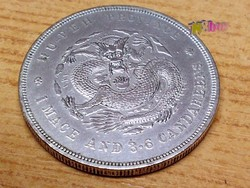 """Kínai Hupeh Province Silver """"Dragon"""" Dollár, kiváló állapotú ritkaság numizmatikusok gyűjteményébe"""