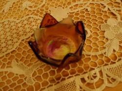 Kézműves üveg tavirózsa mécsestartó/gyertyatartó