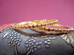 9K-s töltött arany (GF) karika fülbevaló, pezsgő színű CZ kristályokkal