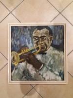 Louis Armstrongot ábrázoló festmény