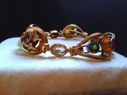 Csiszolt kövekkel Art deco aranyozott ezüst