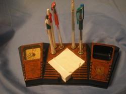 N3 Art decó Orosz bakelit íróasztali ,órás  + 6 db rézhüvelyes toll+ jegyzet tartó ritkaság