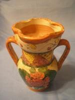 N3 Antik majolika mázas kétfülű váza gyűjteményes ritkaság 16 cm kétfelé lehet önteni a benne valót