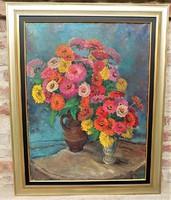 Kövesi ( Köves ) Albi ( 1900- ? ) Virágcsendélet c. olajfestménye 98x78cm Eredeti Garanciával !!!