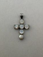Ezüst kereszt Opál kövekkel díszítve 925