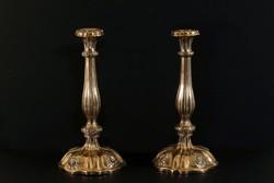 Antik 1853. Ezüst Bécsi Rózsás Gyertyatartó Pár 580g 31cm Osztrák 13 lat 800-as