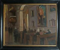 Zórád Géza festmény templombelső 38x29 cm szignált