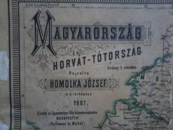 Homolka József: Magyarország és Horvát-Tótország térkép 1887.
