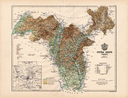 Nyitra megye térkép 1887 (3), vármegye, atlasz, eredeti, Kogutowicz Manó, 43 x 57 cm, Gönczy Pál