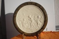 SCHÜTZ CILLI FALITÁL FALIDÍSZ 39 CM Gyönyörű különleges domború Figurális majolika, kerámia.GEBRÜD