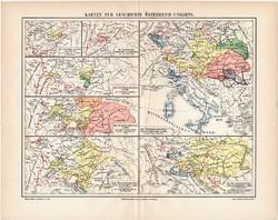 Osztrák - Magyar Monarchia történelmi térképek 1908, német nyelvű, eredeti, magyar, 1526, 1618, 1795