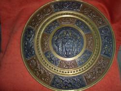 Nagy méretű indiai dísztál ezüst berakással
