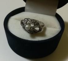 Régi markazit köves ezüst gyűrű gyönggyel
