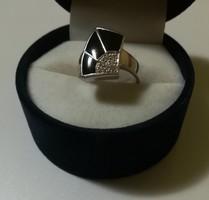 Régi ónix-cirkon köves ezüst gyűrű