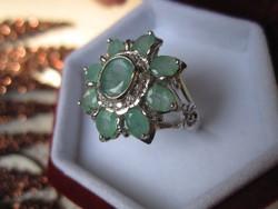 Hatalmas 9 természetes SMARAGD kővel - 925 ezüst virág gyűrű