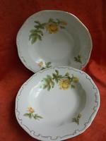 Sárga rózsás Zsolnay porcelán mély tányérok pótlásnak(2 db)