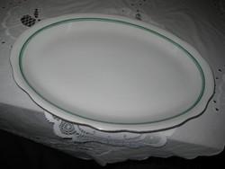 Ovális  Zsolnay tálca , nagyméretű , sorszámos    pajzsos  zöld csíkos  38,5,x 28  cm    .6.