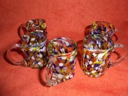 Muranoi üveg pálinkás poharak (5 db)