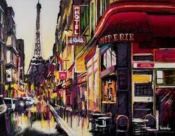 Korenika Iván: Tájkép, olaj festmény, vászon, keret nélkül, tanúsítvánnyal. Párizsi séta 45x50 cm